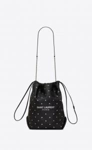 Saint Laurent Black Little Stars Embossed Teddy Bucket Bag