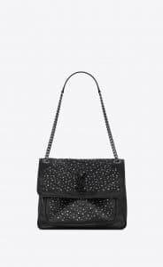 Saint Laurent Black Studded Niki Medium Bag