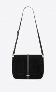 Saint Laurent Black Suede Monogram All Over Satchel Bag