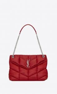 Saint Laurent Eros Red LouLou Puffer Medium Bag