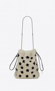 Saint Laurent Ivory Star-Printed Shearling Teddy Bucket Bag