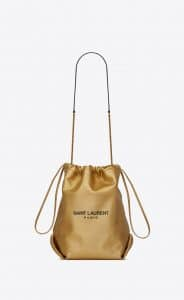 Saint Laurent Pale Gold Teddy Bucket Bag