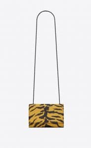 Saint Laurent Yellow Embossed Zebra Print Small Kate Bag