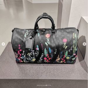 Louis Vuitton Black Monogram Floral Print Keepall Bag