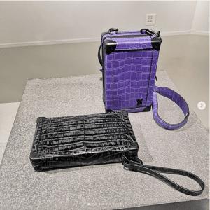 Louis Vuitton Black and Purple Crocodile Mini Trunk Bags