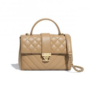 Chanel Beige Calfskin Medium Top Handle Bag