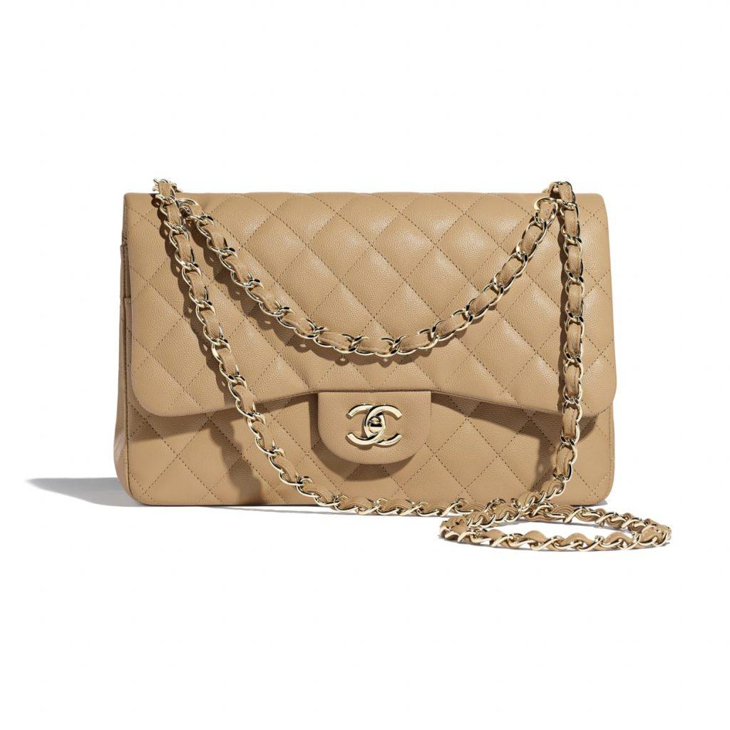 Chanel Beige Jumbo Large Classic Flap Bag