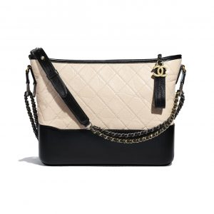 Chanel Beige/Black Aged Calfskin Gabrielle Hobo Bag