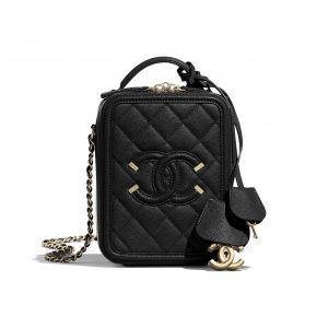 Chanel Black CC Filigree Vertical Vanity Case Bag