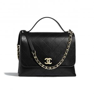 Chanel Black Calfskin Large Top Handle Bag 1