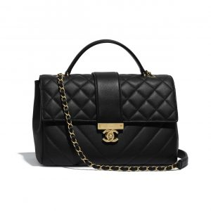 Chanel Black Calfskin Large Top Handle Bag