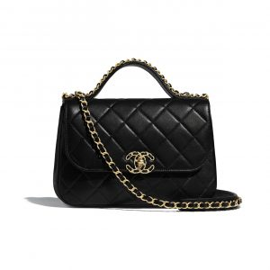 Chanel Black Chain Infinity Top Handle Bag