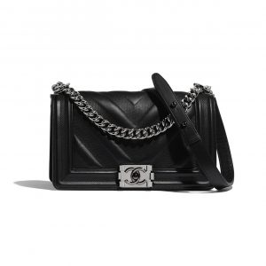 Chanel Black Embossed Chevron Old Medium Boy Chanel Flap Bag