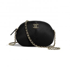 Chanel Black Chevron Small Camera Case Bag