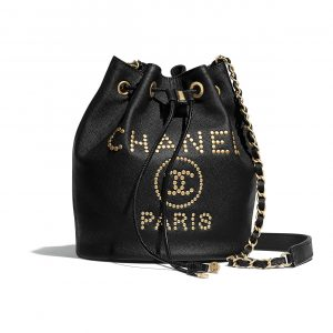 Chanel Black Deauville Small Drawstring Bag