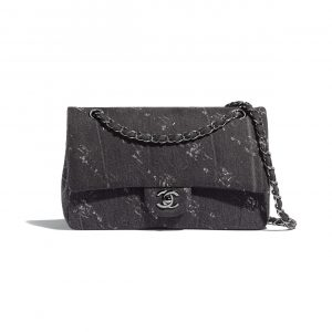 Chanel Black Denim Medium Classic Flap Bag