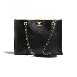 Chanel Black Lambskin Large Shopping Bag