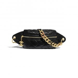 Chanel Black Lambskin Waist Bag