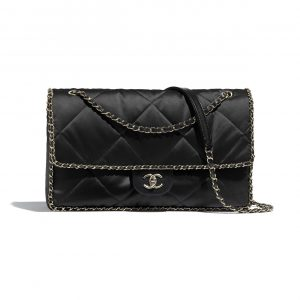 Chanel Black Satin Running Chain Flap Bag
