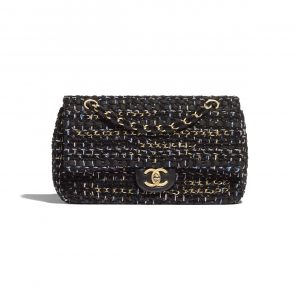 Chanel Black Tweed Flap Bag