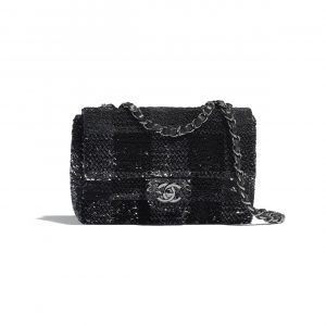 Chanel Black/Silver/White Sequins Flap Bag