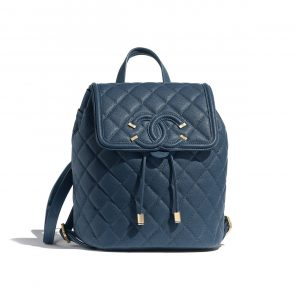 Chanel Blue CC Filigree Small Backpack Bag