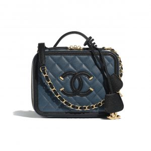 Chanel Blue/Black Grained Calfskin CC Filigree Vanity Case Bag