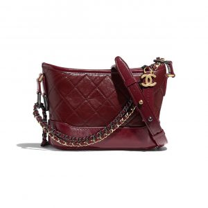 Chanel Burgundy Aged Calfskin Gabrielle Small Hobo Bag