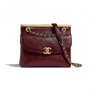 Chanel Burgundy/Black Lambskin Flap Bag