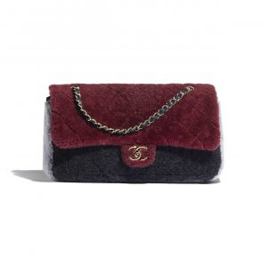 Chanel Burgundy/Navy Blue/Gray Shearling Sheepskin Flap Bag