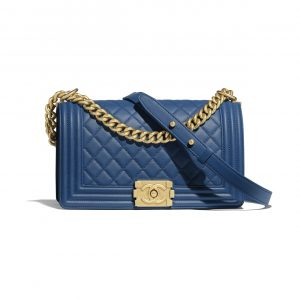 Chanel Dark Blue Old Medium Boy Chanel Flap Bag