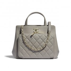 Chanel Gray Business Affinity Small Shopping Bag
