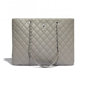 Chanel Gray Calfskin Large Shopping Bag