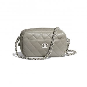 Chanel Gray Lambskin Camera Case Bag