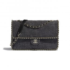 Chanel Gray Wool Tweed Running Chain Flap Bag