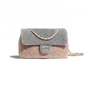 Chanel Gray/Pink/Beige Shearling Sheepskin Small Flap Bag