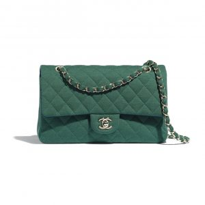 Chanel Green Jersey Medium Classic Flap Bag