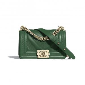 Chanel Green Embossed Chevron Small Boy Chanel Flap Bag