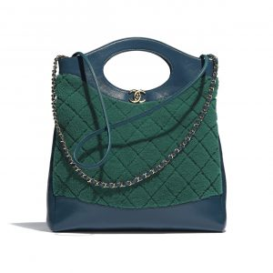 Chanel Green/Blue Shearling Sheepskin Small 31 Bag