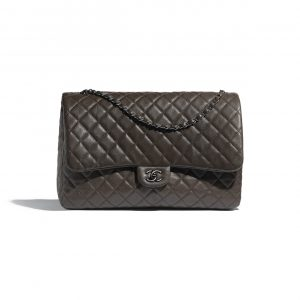 Chanel Khaki Calfskin Flap Bag