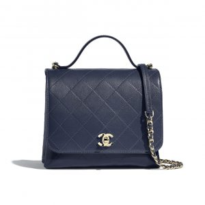 Chanel Navy Blue Calfskin Medium Top Handle Bag