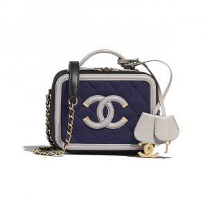 Chanel Navy Blue/Black/Gray Jersey Small Vanity Case Bag
