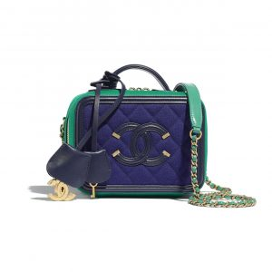 Chanel Navy Blue/Green Jersey CC Filigree Small Vanity Case Bag