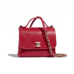 Chanel Red Calfskin Small Top Handle Bag