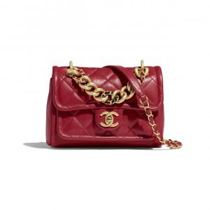 Chanel Red Lambskin Flap Bag