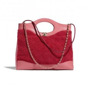 Chanel Red/Pink Shearling Sheepskin 31 Bag