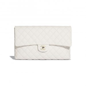 Chanel White Classic Clutch Bag