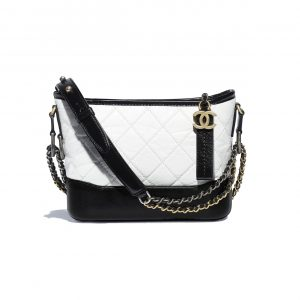 Chanel White/Black Aged Calfskin Gabrielle Small Hobo Bag