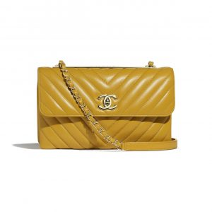 Chanel Yellow Chevron Trendy CC Flap Bag