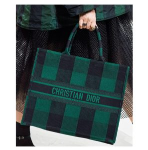 Dior Hunter Green Checkered Book Tote